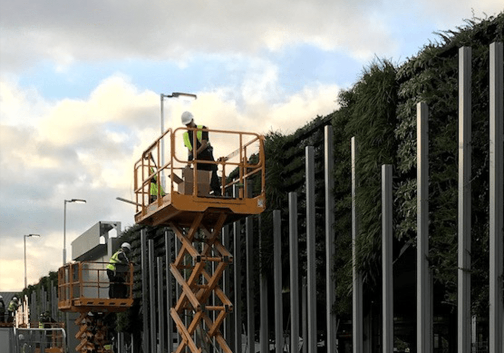 Image shows the Prichard & Prichard green wall installation crew on platforms installing plants in a huge modular green wall at Ellesmere Port.