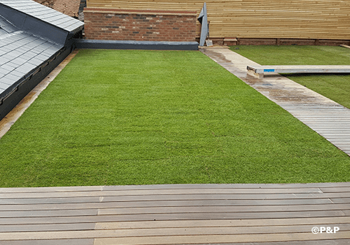 Image shows an immaculate lawn, newly laid on a domestic roof by the P&P turfing team.