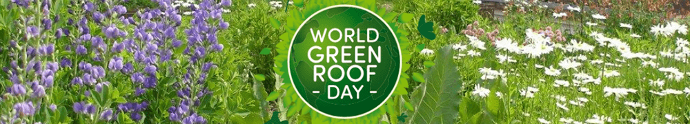 Image shows: World Green Roof Day banner. Celebrated on June 20 every year.