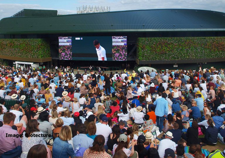 Image shows:The extensive refurbishment of No1 Court at Wimbledon Tennis Club features 245sqm of living walls with 14,344 plants, by Biotecture, selected to match Wimbledon's colour scheme.