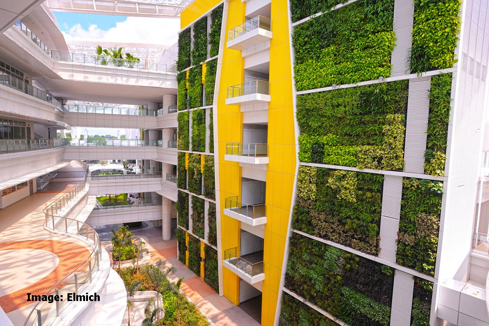 Image: Living wall at Singapore Institute of Technical Education by Elmich VersiWall. The largest green wall project in Asia