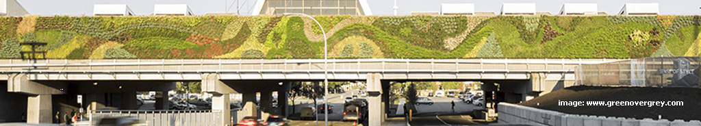image: Huge living wall on a bridge at Guildford Shopping Centre, in Surrey, British Columbia, Canada,